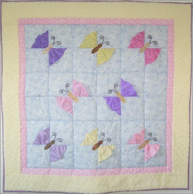 Quilt Patterns For A Girl : Butterfly Kisses Girl Baby Quilt Pattern