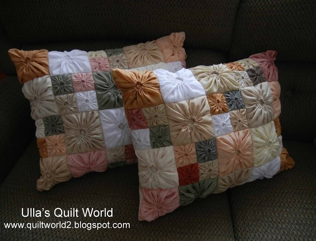 Free Pattern Tutorial Square Yo Yo Quilted Pillow Case By Ulla