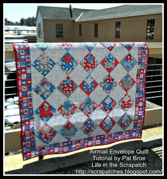 Free Tutorial - Airmail Envelope Quilt by Pat of Scrapatches : envelope quilt pattern - Adamdwight.com
