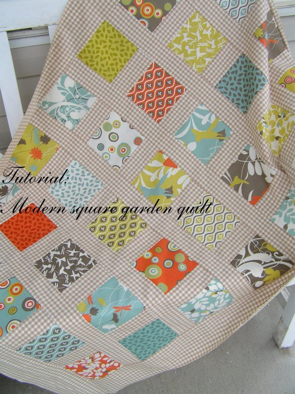 Simple Modern Quilt Patterns Free : Free Tutorial - Modern Square Garden Quilt by Sachiko