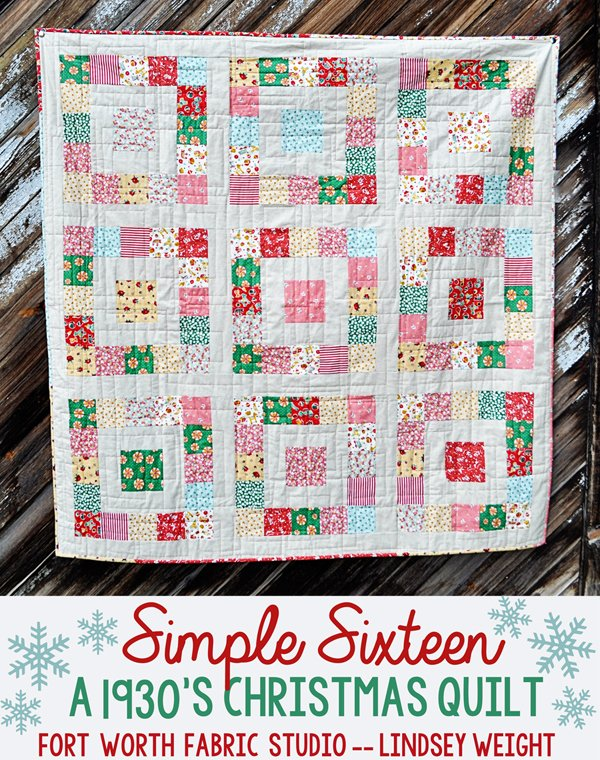 Free Easy Christmas Quilt Patterns : Free Pattern - Simple Sixteen Christmas Quilt by Lindsey Weight