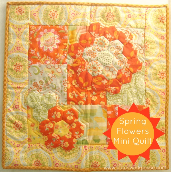 Free Quilting Patterns For Spring : Free Tutorial - Spring Flowers Hexagon Quilt by Becky
