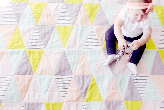 Free Tutorial One Hour Triangle Baby Quilt By Kate