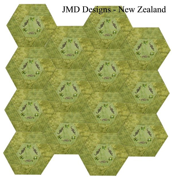 Free Pattern Twisted Hexagon Block By Janet
