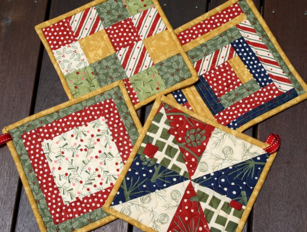 christmas pads tutorial rebecca hotpads quilted patterns pot pad potholder holders holder potholders quilt easy quilting making fabric tutorials patchwork