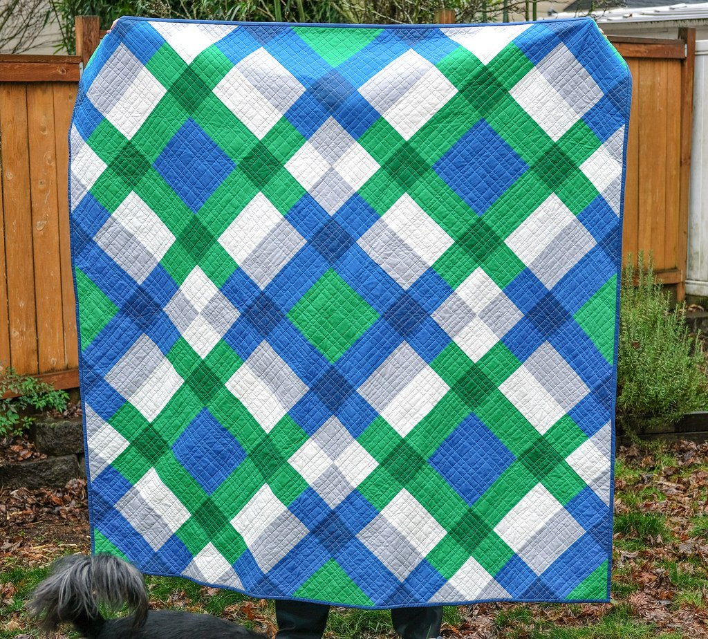 Free tutorial giant block quilt by erica jackman for Kitchen quilting ideas