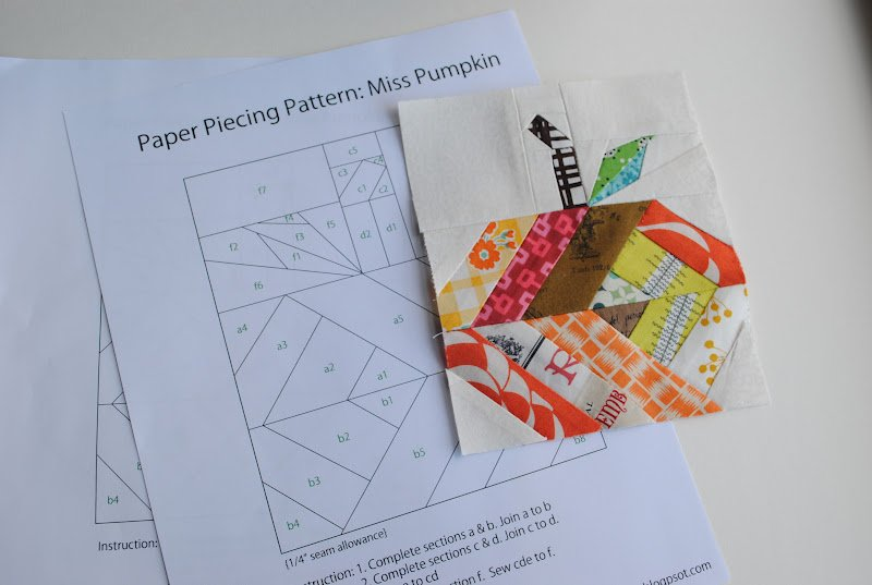 free paper piecing pattern miss pumpkin by chase